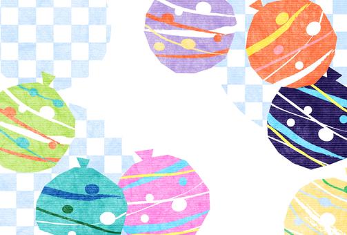 溜溜球和格子夏季問候明信片水平