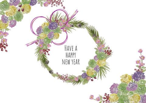 可用於新年賀卡的水彩菊花花環