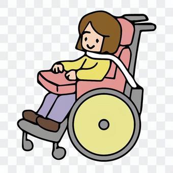 気管切開で呼吸器をつけた車椅子の女の子