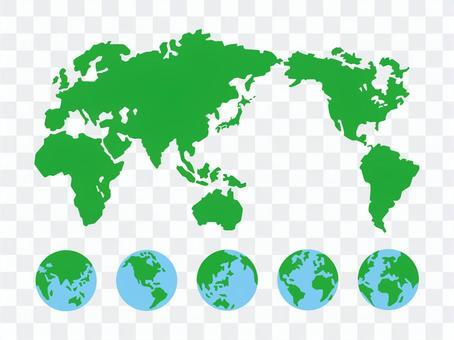 世界地図と地球セット