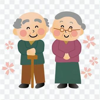 老年夫妇(全身)