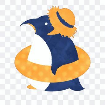 企鵝草帽水彩風格