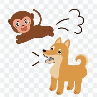 一隻狂吠的狗和一隻驚訝而逃跑的猴子