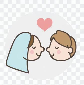 新娘和新郎接吻
