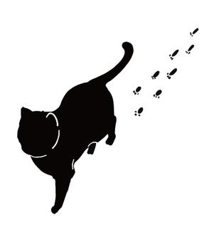 黑貓剪影腳印