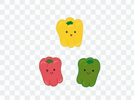 赤黄緑ピーマン