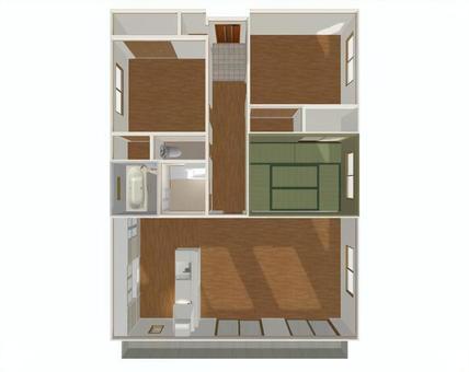 3LDK Floor Plan ② (3D Stereoscopic Drawing - overhead)