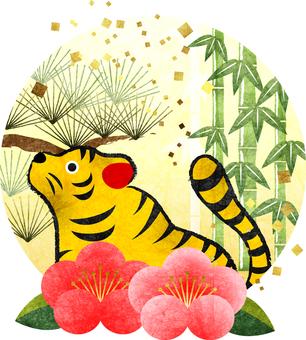 Yellow tiger tiger year Shochikuume icon transparent ant