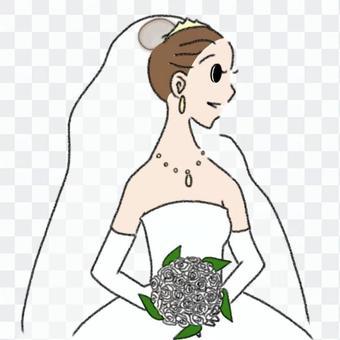 新娘_與花束_鉛筆線