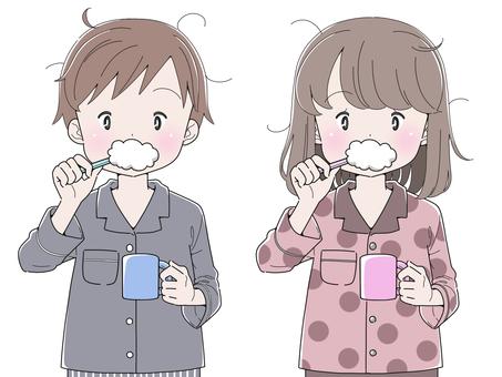 Boys and girls brushing their teeth