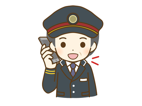 Middle-aged male station employee talking on the phone