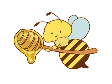 Bees carrying honey on a honey server