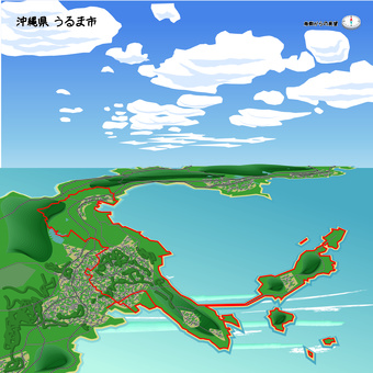 沖繩縣宇流市市在沖繩邊界