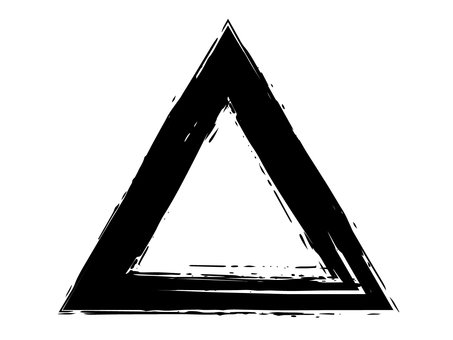 毛筆書寫三角形、墨水、黑色