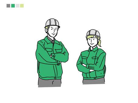 工作服的線描觸摸人物插圖
