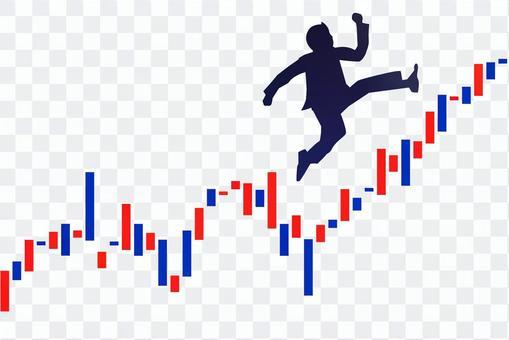 交換圖表和跳躍的商人