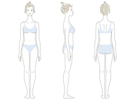 女_線條圖_整個身體