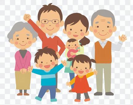 3世代7人家族 全身