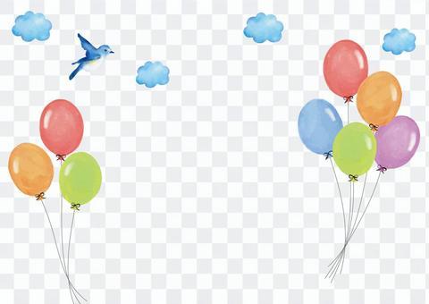 水彩氣球和鳥類背景