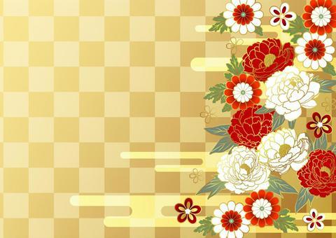 牡丹,日本花和雲格仔背景金水平