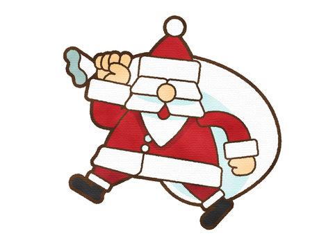 水彩觸摸聖誕老人攜帶禮物