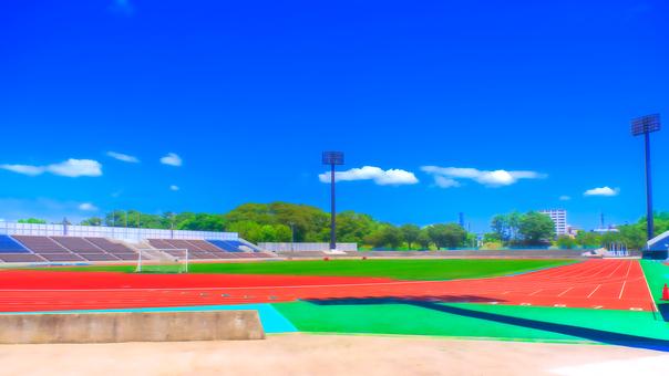 Athletic stadium Anime style processing