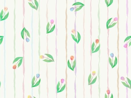 連接鬱金香和條紋的牆紙