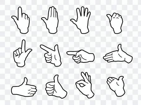 手和手指·手標誌·白色鸚鵡