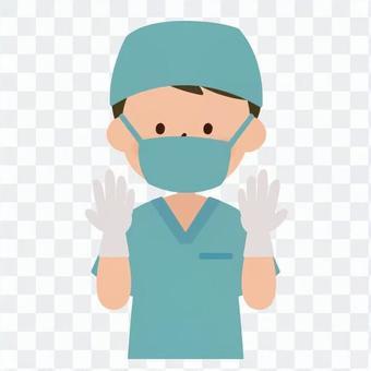 医療-手術をする術衣を着た男性医師(上半身)