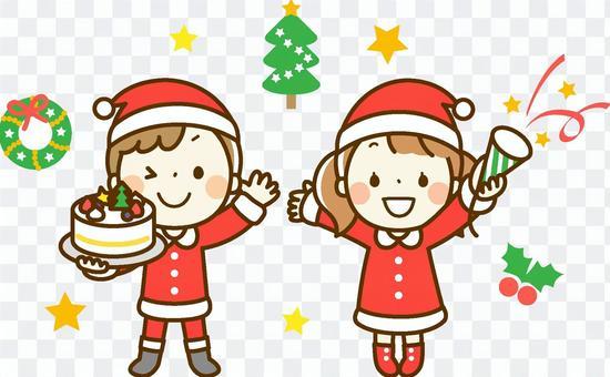 男孩和女孩在聖誕老人
