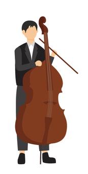 男人玩低音提琴