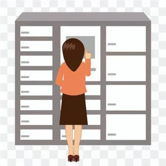 一個女人誰經營一個交付箱