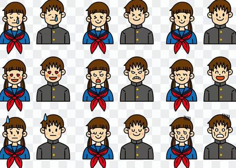 Middle and high school students various facial expressions