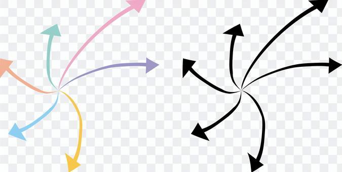 箭頭展開分散分散方向