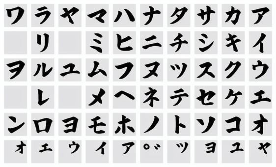 刷字符片假名按字母順序排列