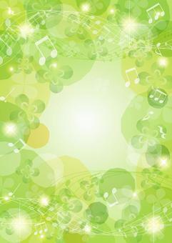 音符和閃光三葉草背景垂直