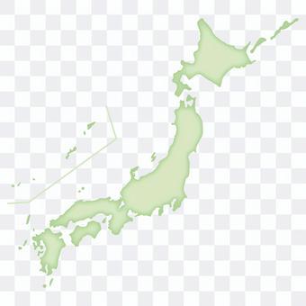 復古的日本地圖_綠色