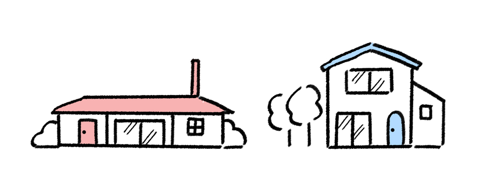 One-story and two-story line drawing illustration