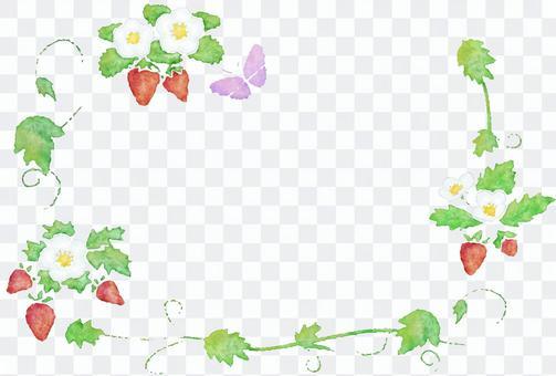 草莓水彩畫,劃線和圖標集