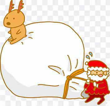 聖誕老人拉著禮物