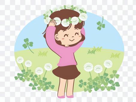 兒童白三葉草的花裝飾