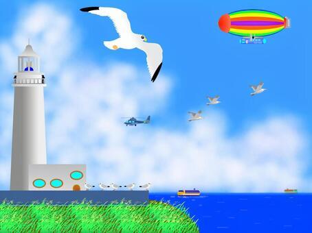 一個飛艇,鷗似乎飛過斗篷!