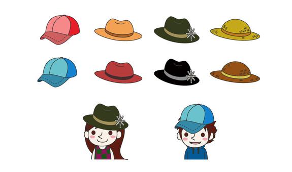 Illustration of various hats
