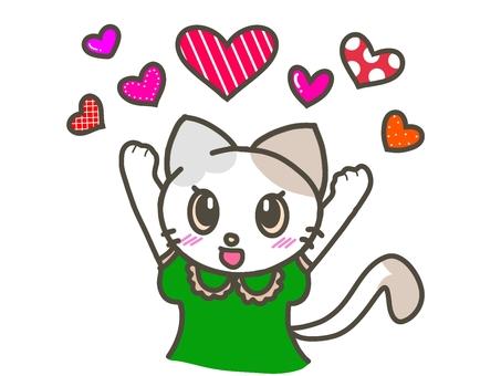 許多帶有流行圖案的心形和貓形圖案