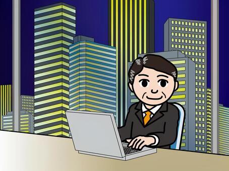 オフィス街(61)夜の高層ビル 男性