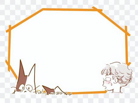 斑紋貓和女孩氣球框架