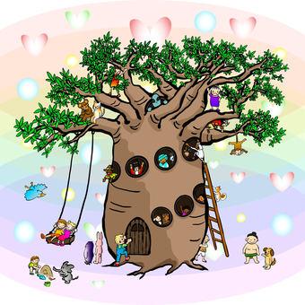 朋友聚會在猴麵包樹樹屋多樣性