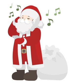 聖誕老人用耳機聽音樂(全身)