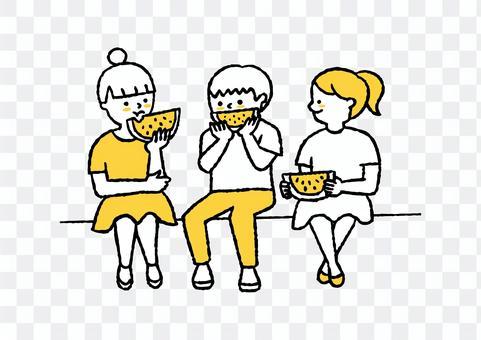 孩子們吃西瓜