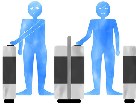 Right-handed automatic ticket gates are extremely inconvenient for left-handed people! Blue